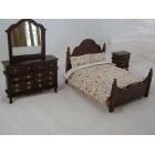 Double Bed Set  dresser dollhouse miniatures 3pc T3560