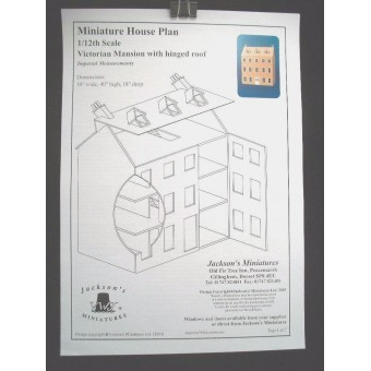 Dollhouse Plans: Georgian Mansion  front opening design 1/12 scale