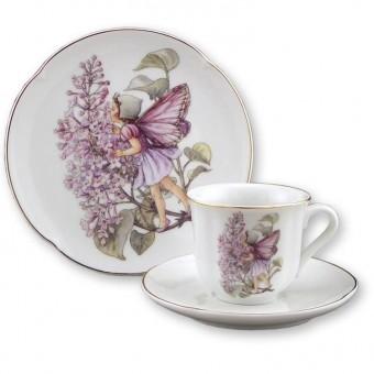 Lilac Fairy Teacup & Plate Set for Children Reutter Porcelain 75.534/4