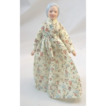"Porcelain Doll Grand Mother / Woman dollhouse miniature  1"" scale G7675"