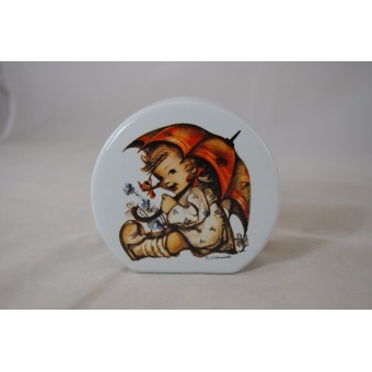 Flower Piggy Bank painted Child /w Umbrella Reutter Porcelain 32.085/0