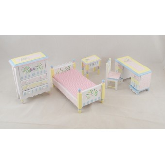 Bed Room Child's Set painted dollhouse furniture 1/12 scale EMWF488 5pc