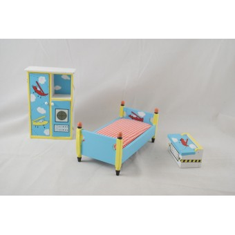Bed Room Child's Airplane Set painted dollhouse furniture 1/12 scale EMWF595 3pc