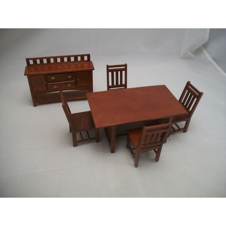 Dining Room Set Craftsman Style Dollhouse Wooden Furniture 1 12 Scale 6pc T6239