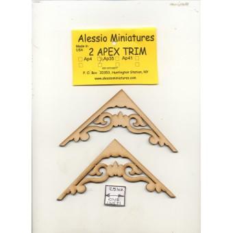 Apex Trim - AP35 wooden dollhouse miniature 1:12 scale USA made 2pcs