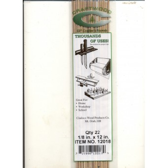 "Dowel Rods 1/8""  - 12"" Handi Craft Dowels - 22/pk - hardwood  .125 dia."