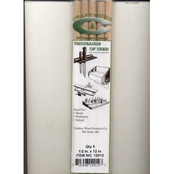 "Dowel Rods 1/2""  - 12"" Handi Craft Dowels - 5/pk - hardwood"