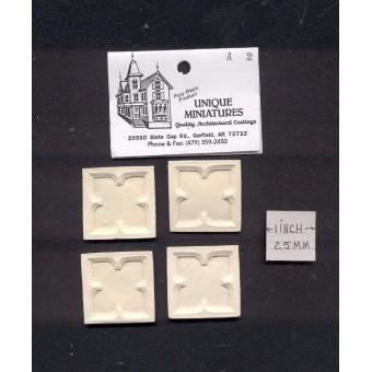 Applique - Block  4pcs -  UMA20 -  polyresin 1/12 scale dollhouse miniature