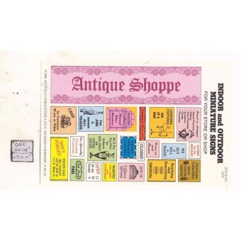 Antique Shoppe / Store Signs -  S107 - 1/12 Scale dollhouse miniature -