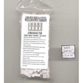 Bricks Corner  white plaster w/ solid color miniature 125pk 1/12 scale AM0203CNR