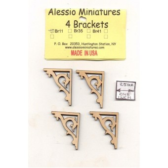 Bracket / Braces - BR11 wooden dollhouse miniature 1:12 scale USA made 4pcs