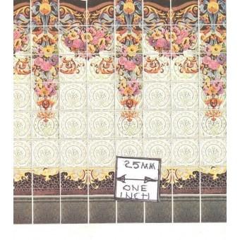 Art Nouveau Wall Tile Sheet  34443 dollhouse 1pc World & Model card stock