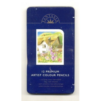 Color Pencils 12pc Set in Tin Box - Fantasia -  colour - made in England