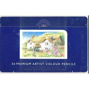 Color Pencils 36pc Set in Tin Box - Fantasia -  colour - made in England