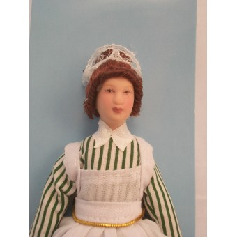 "Porcelain Doll Victorian Maid dollhouse miniature  1"" scale  1pc G7619"