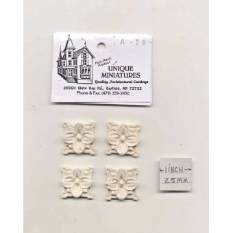 Applique - Flower 4pcs -  UMA20 -  polyresin 1/12 scale dollhouse miniature