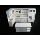 Deluxe Kitchen Set  White T5425 dollhouse miniature 8pc  1/12 scale painted wood