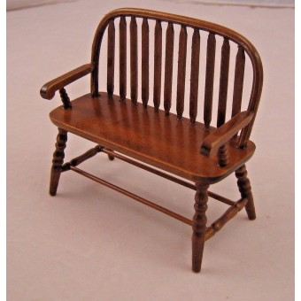 Windsor Bench - dollhouse miniature wooden furniture T6845 1/12 scale