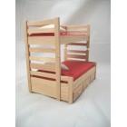 """Bunk Bed w/ Trundle dollhouse miniature furniture 1/12"""" scale  T4171 oak finish"""