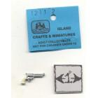 Pistol Ivory Grip handgun dollhouse miniature ISL1211-2 metal casting 1/12 scale