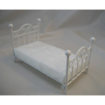 "Single Bed white dollhouse miniature furniture 1"" scale T5030 metal"