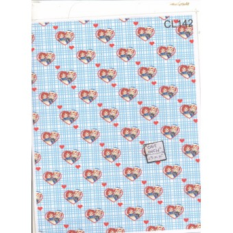 "Fabric - Cotton Ann & Andy Blue CL142 dollhouse Dragonfly 1/12 scale 8.5x11"" 1pc"