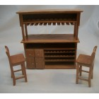 Bar & Stools dollhouse miniature furniture 1/12 scale T7283 wood w/ pecan finish