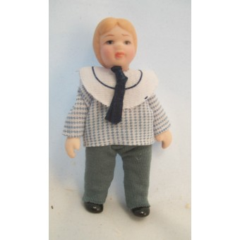 "Porcelain Doll Victorian Boy dollhouse miniature  1"" scale  1pc O6816"
