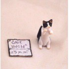 Cat / Standing Black & White - dollhouse Miniatures A2106bw 1/12 scale plastic