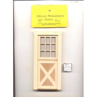 Door - 9 light - 2336 wooden dollhouse miniature 1:12 scale Made in USA