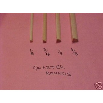 "1/4"" radius Quarter Round Basswood Trim molding hobby 3pcs"