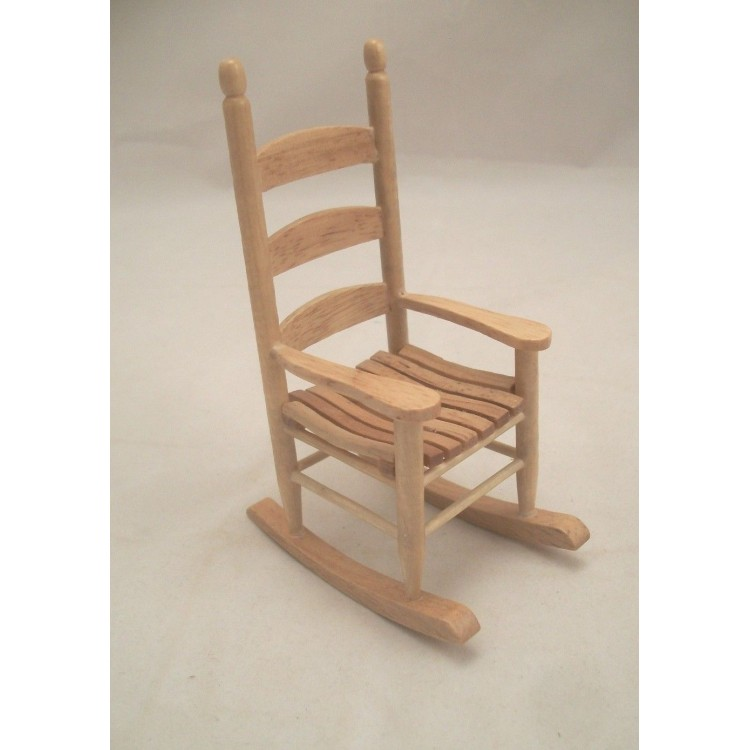 Dollhouse Miniature Oak Wood Rocking Chair by Handley House
