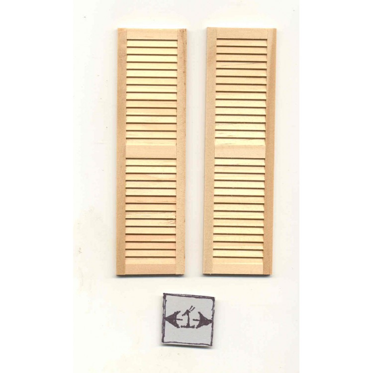 """Dollhouse Miniature Shutters Louvered 1 Pair Unfinished Wood 1:12 Scale 5 1//4/"""""""