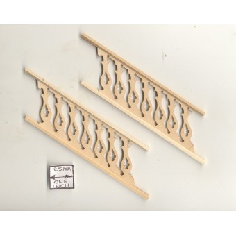"Stairs Railing - Assembled NE1205 2pc 5-1/2"" long unfinished wood 1/12 scale"