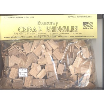 Shingles - Square Butt #50 Split Wood 1000pcs 1/12 scale dollhouse made in USA