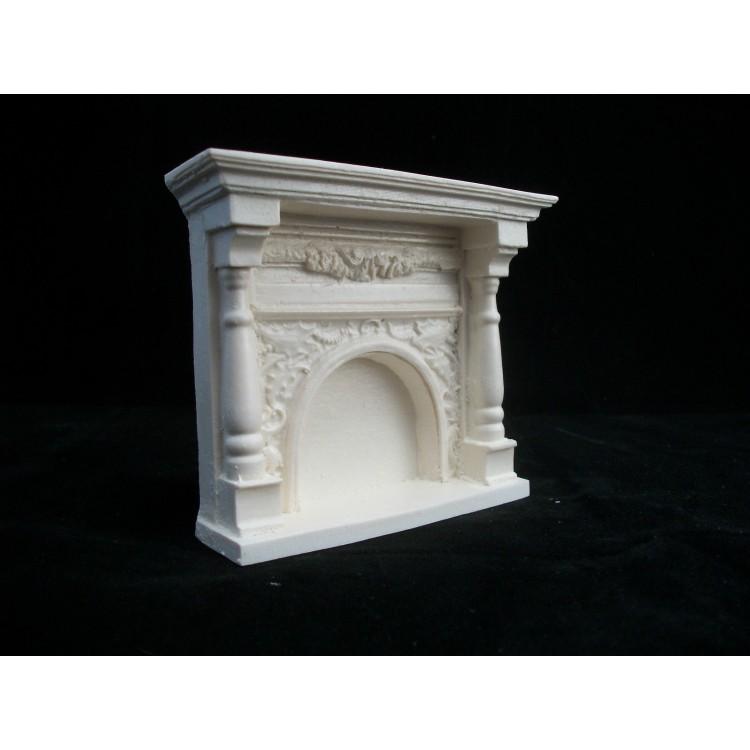Dollhouse Miniature Fieldstone Walk in Fireplace in Resin