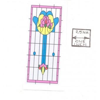 Simulated Stain Glass #SLIM05 dollhouse miniature fits window HW5042 CLA75042