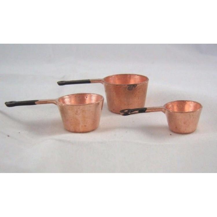Copper Pot Set 2 kitchen dollhouse miniature 5pc MA2258  1//12 scale