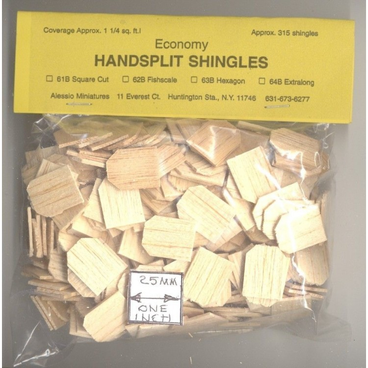 Hexagon Butt #51 Split Wood 1000pcs 1//12 scale dollhouse made in USA Shingles
