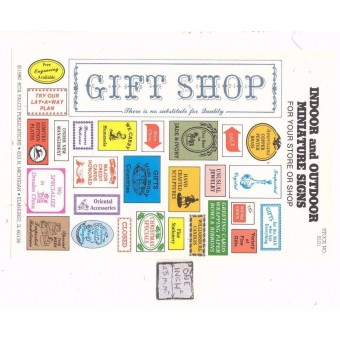 Gift Shop Signs -  S101 - 1/12 Scale dollhouse miniature -