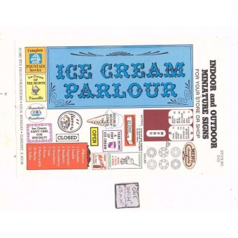 Ice Cream Parlour Signs -  S103 - 1/12 Scale dollhouse miniature -