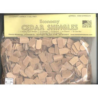 Shingles - Hexagon Butt #51 Split Wood 1000pcs 1/12 scale dollhouse made in USA