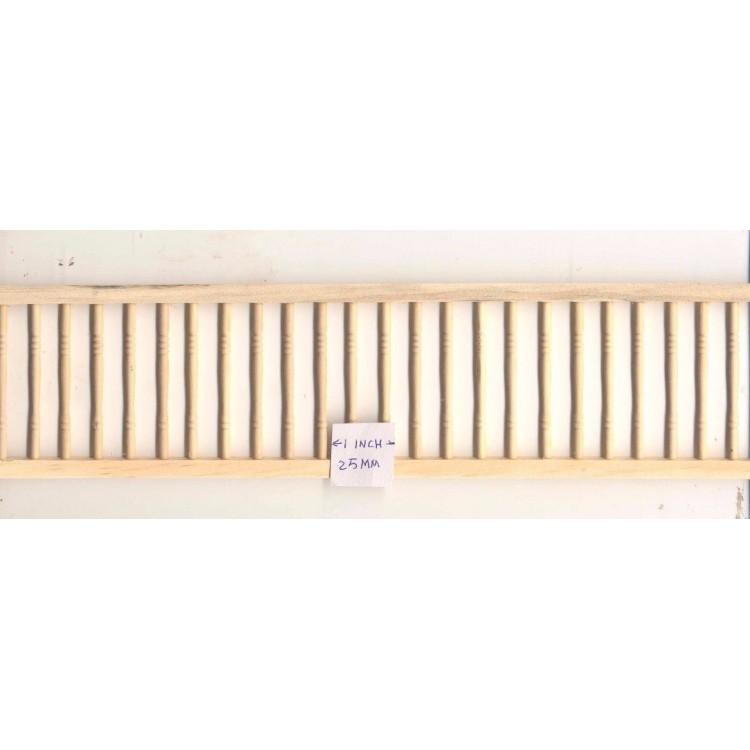 """Guard Railing Assembled NE1203 1pc 18/"""" long unfinished wood 1//12 scale PBL-3"""