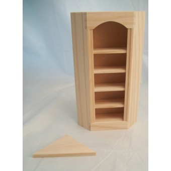 Corner Bookcase 5026 dollhouse miniature 1/12 scale Houseworks unfinished wood