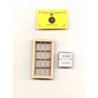 Half Scale -  Window 6 over 6 -   405HS wood dollhouse miniature 1/24 scale USA