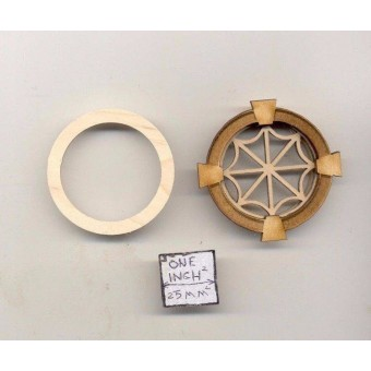 Window - Spider Style - 2136 round wood dollhouse miniature 1:12 scale USA made