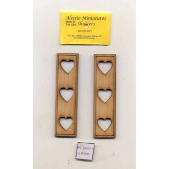 Shutters Hearts - dollhouse miniature 1:12 scale  unfinished wood   2001 USA