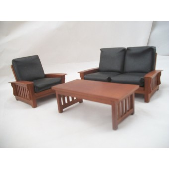 Living Room Set - Craftsman Mission Style - dollhouse furniture 1/12 scale T6235