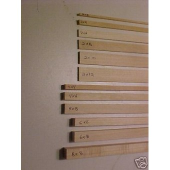 "2""x12"" Model Lumber 1/12th Scale Dollhouse 4pc  trim"
