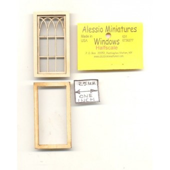 Half Scale - Arch Window 2117HS wood dollhouse miniature 1/24 scale USA made
